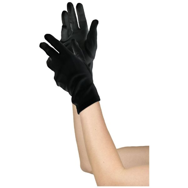 Adults Womens Short Gloves Black Fancy Dress Outfit Accessory